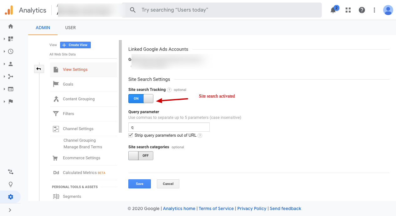 Google Analytics Site Search Setting